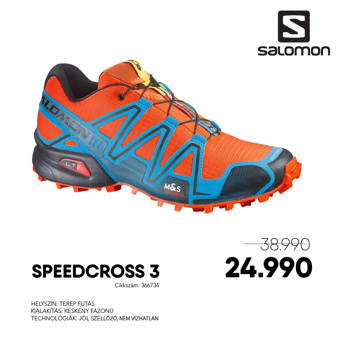 Salomon Terepfutó Cipő SPEEDCROSS 3 -  366734-George_Orange-X-BL_BK