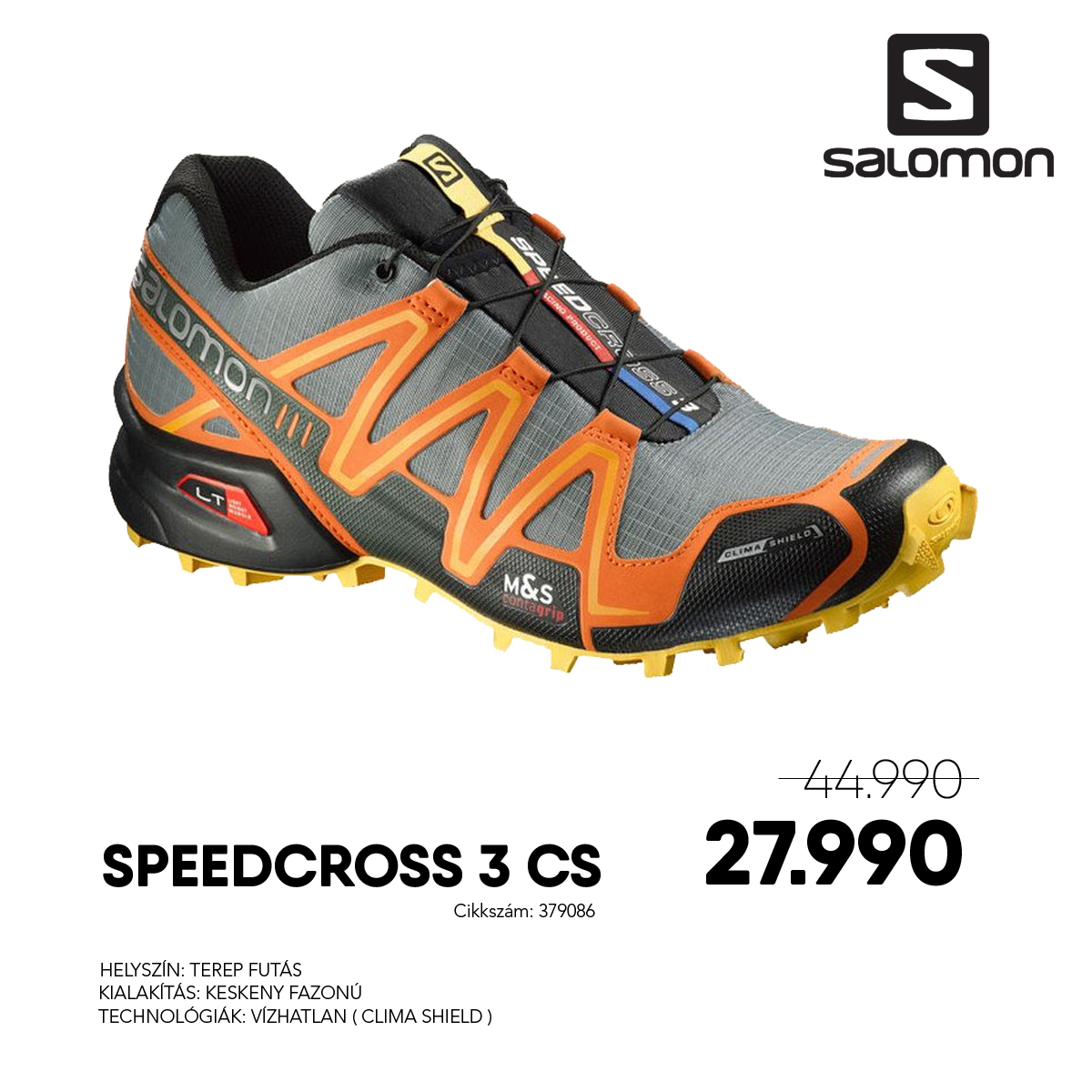 Salomon Terepfutó Cipő SPEEDCROSS 3 CS - 379086-LIGHT_TT_CLEM_BEE