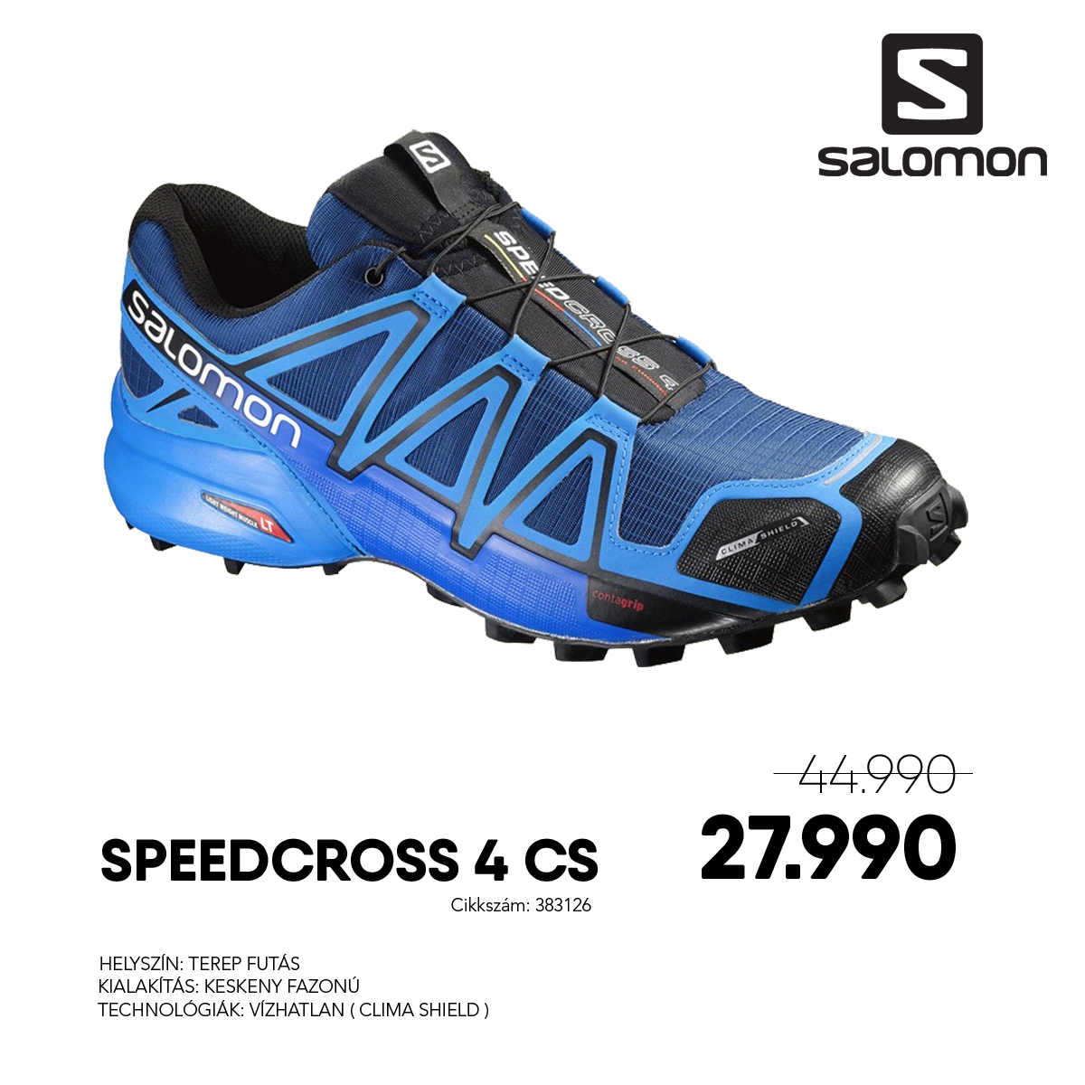 Salomon Terepfutó Cipő SPEEDCROSS 4 CS - 383126-Blue_Depth_Briblusld_Black