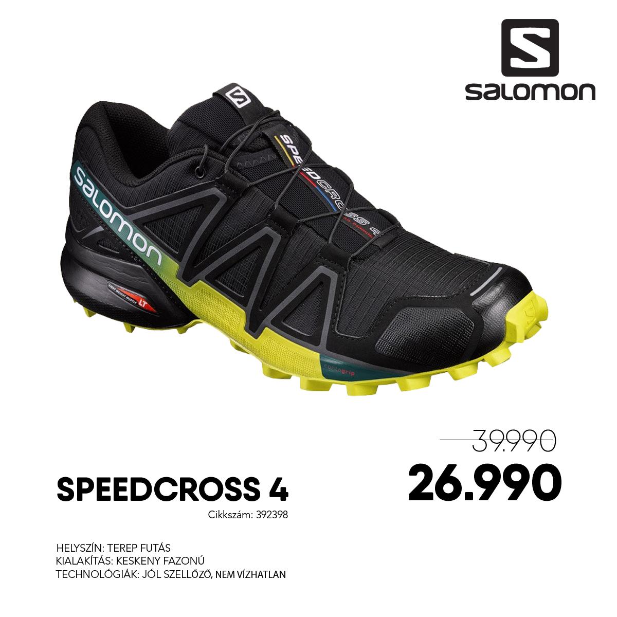 Salomon Terepfutó Cipő SPEEDCROSS 4 - 392398-BK_Everglade_Sulph