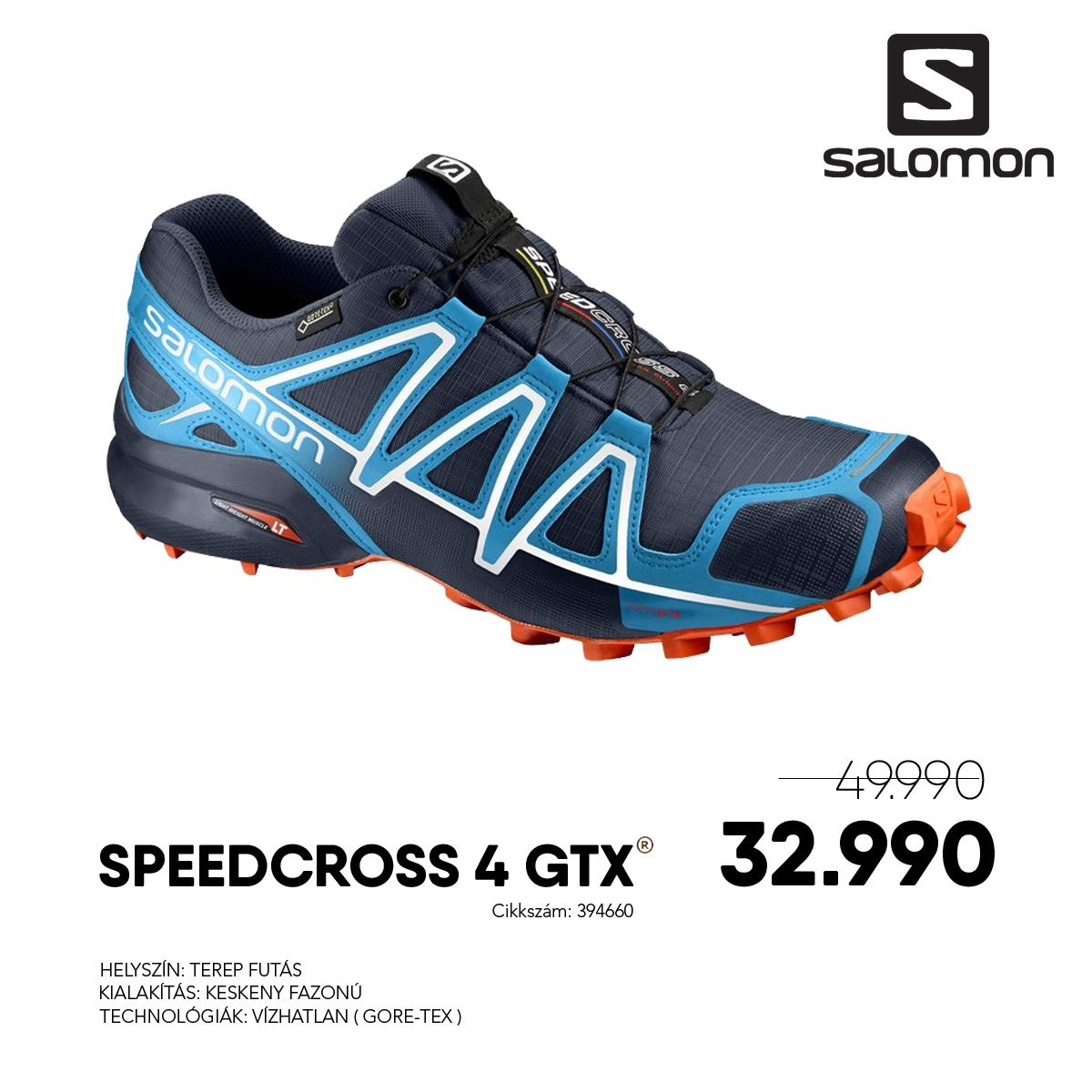 Salomon Terepfutó Cipő SPEEDCROSS 4 GTX® - 394660-Navy_Blazer_Cloisonne_Flame