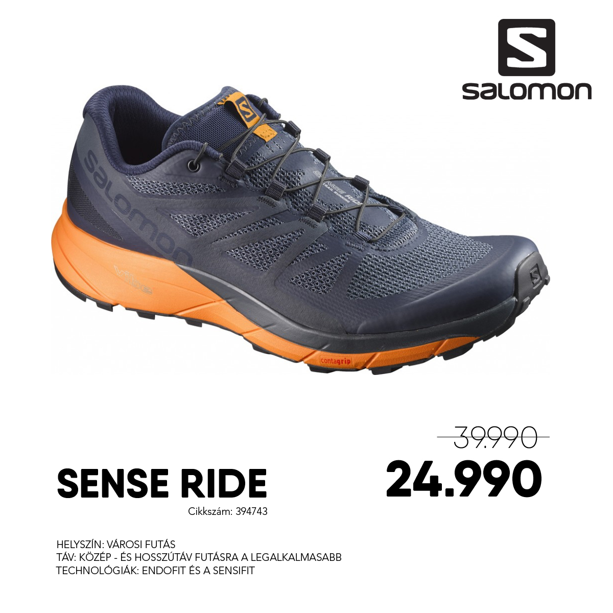 Salomon Futócipő SENSE RIDE - 394743-Navy_Blaze_Bright_Mar_O